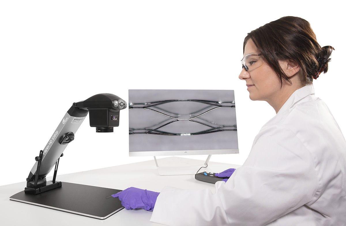 Microscopio per ispezione opto digitale con videocamera hd a