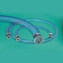 Tubo flessibile in PVC / per elio / con flangia / con treccia metallica