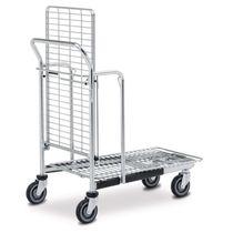 Carrello da trasporto / in acciaio / a ripiani / con piattaforma a griglia