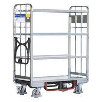 Carrello per movimentazione / in acciaio zincato / a ripiani / per contenitore di stoccaggio