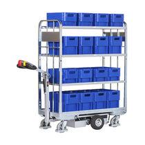 Carrello da trasporto / in acciaio / a ripiani / per container