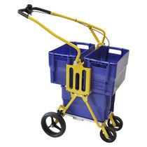 Carrello per smistamento e distribuzione di posta / in acciaio / porta-contenitori / ribaltabile