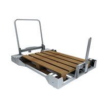 Carrello in acciaio zincato / a pianale ribassato / per contenitori Euro / a paletta