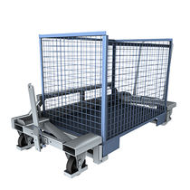 Carrello per movimentazione / in acciaio zincato / con piattaforma a griglia / per cassa-pallet