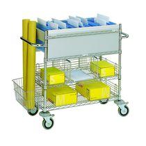 Carrello per smistamento e distribuzione di posta / in acciaio / a ripiani / multiuso