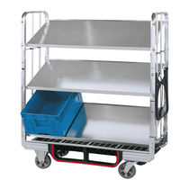 Carrello per movimentazione / in acciaio / a ripiani / per contenitore di stoccaggio