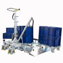 Carrello per movimentazione / in acciaio galvanizzato / per contenitore di stoccaggio / per basi con ruote