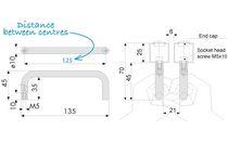 Impugnatura staffa / tubolare / per porta / in acciaio inossidabile