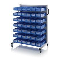 Carrello di stoccaggio / in alluminio / a ripiani / porta-contenitori
