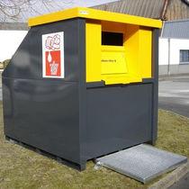 Cassonetto per rifiuti in acciaio / per oli esausti / con sistema di sicurezza / con coperchio