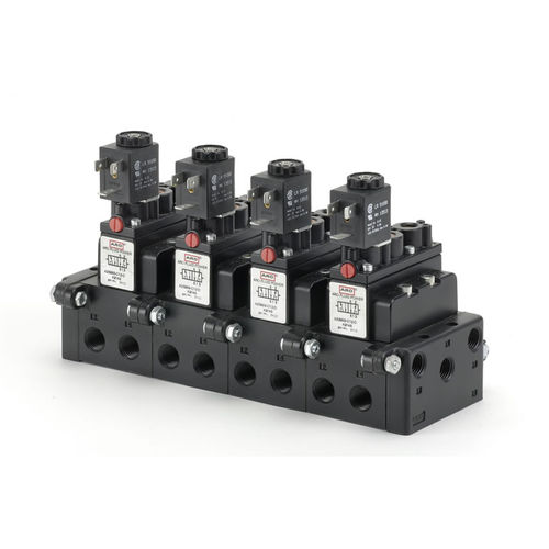 distributore pneumatico a comando assistito / azionato tramite solenoide / a 5/2 vie / per montaggio su base
