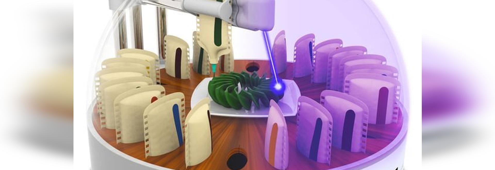 alimento di stampa 3D: il laboratorio crea lo stampatore dell'alimento 3D che cucina le sue stampe con un laser