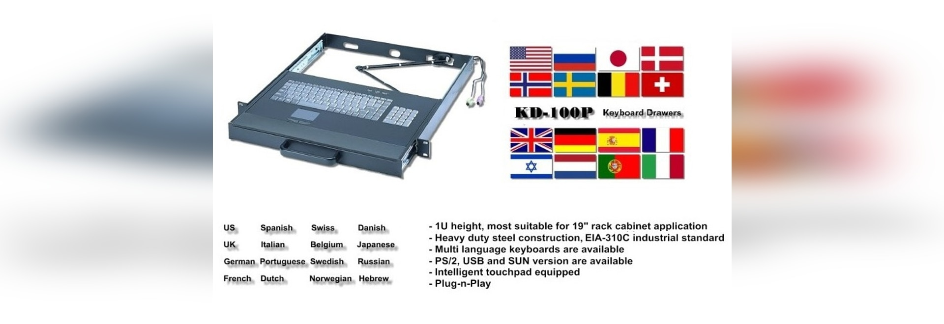 KD-100P: cassetto industriale della tastiera 1U