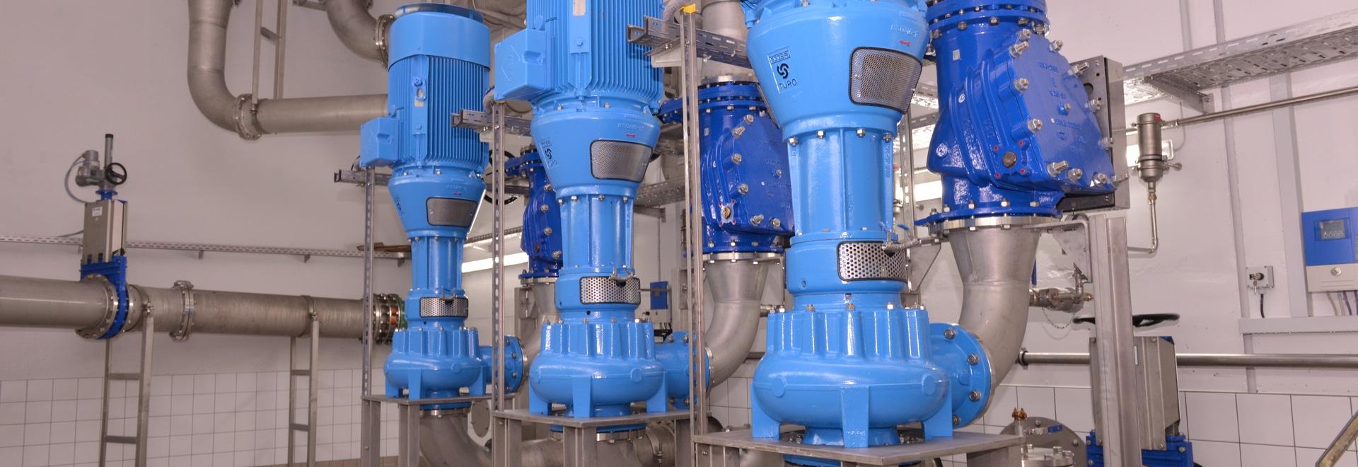 Pompe di vortice di Egger Turo® nella stazione di pompaggio Schweinfurt, Germania - pompe del tempo della tempesta