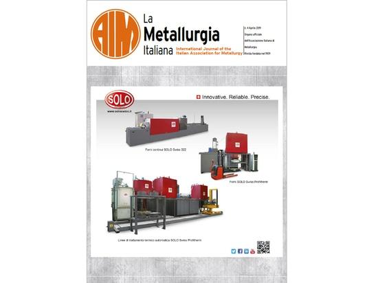 "SOLO Swiss Front Cover of ""La Metallurgia Italiana"" - issue 4/2019."