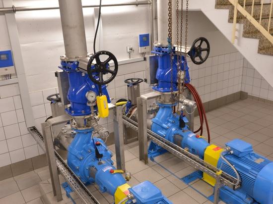 Pompe di vortice di Egger Turo® nella stazione di pompaggio Schweinfurt, Germania - pompe del asciutto-tempo