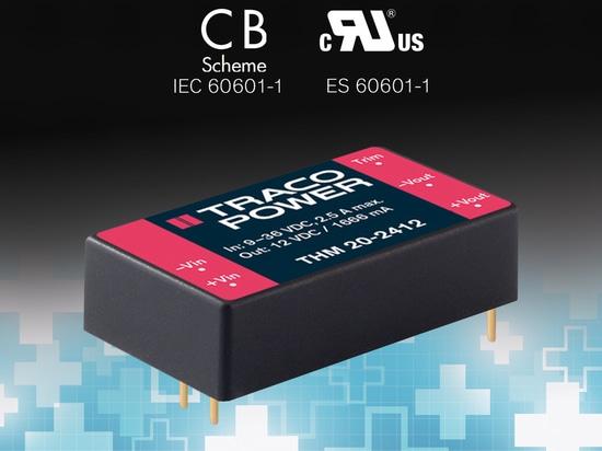 il convertitore cc-cc medico 20-Watt caratterizza l'ampia gamma dell'input di 2:1
