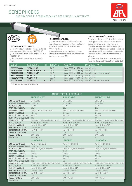 Schema Elettrico Bft Oro : Phobos bft catalogo pdf documentazione tecnica brochure