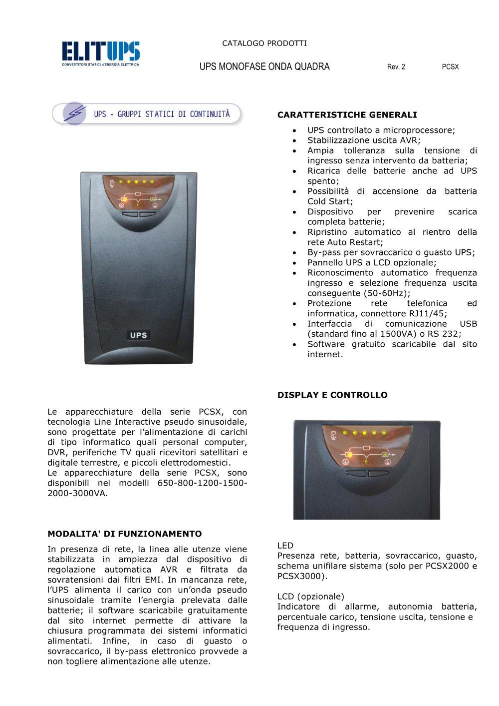 Schema Elettrico Ups : Ups monofase onda quadra elit catalogo pdf documentazione