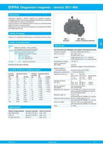 Disgiuntori magneto - termici 201/-WA