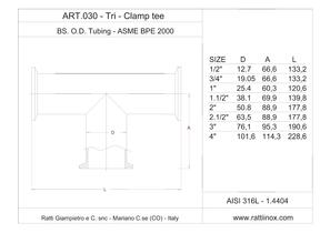 Art. 030 - Tee Tri-Clamp