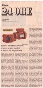 Editoriale Tecnica Industriale sul prestigioso quotidiano nazionale Il Sole 24 Ore