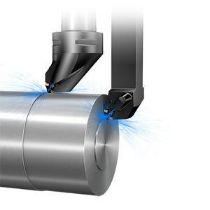 utensile di tornitura esterno / ad inserti amovibili / di precisione / con fluido di raffreddamento interno