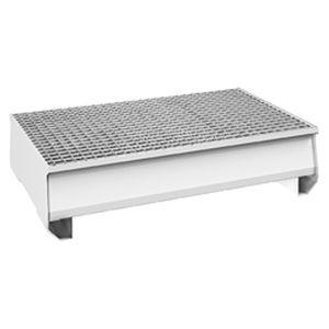 vasca di raccolta 2 fusti / acciaio / con griglia zincata / rigida