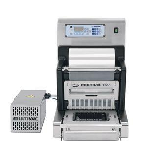 termosigillatrice di vaschette lineare / semiautomatica / per l'industria agroalimentare / per vaschette