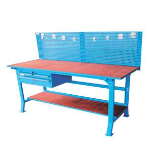 banco da lavoro in legno / 2 cassetti / con parete porta attrezzi
