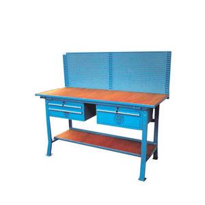 banco da lavoro in legno / 3 cassetti / con parete porta attrezzi