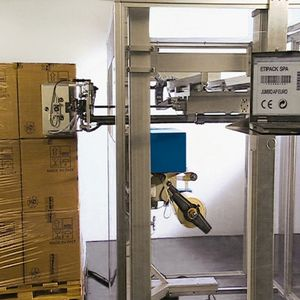 stampante-applicatore di etichette per applicazione laterale