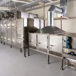 essiccatore con nastro trasportatore / a soffiaggio d'aria / continuo / per l'industria agroalimentare