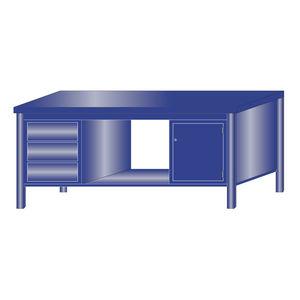 banco da lavoro in metallo / 3 cassetti / monoblocco / a scomparti