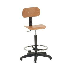 sedia girevole schienale in legno / seduta in legno / con poggia piedi