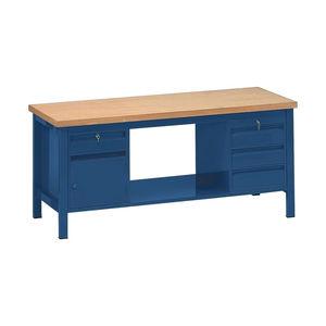 banco da lavoro in legno / 4 cassetti / a porta / monoblocco
