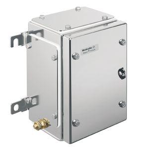 scatola a parete / rettangolare / in acciaio inossidabile / con coperchio incernierato