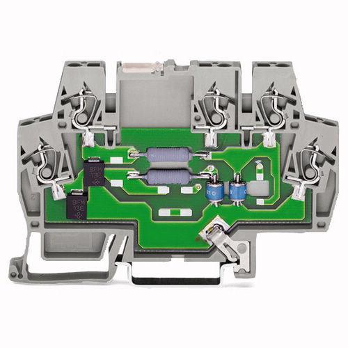morsetto componibile con connessione a molla / su guida DIN / passante / con limitatore di sovratensione integrato