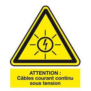 etichetta di sicurezza / adesiva / in PVC / per rete elettrica a tensione continua