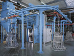 granigliatrice per carico sospeso / per metallo / in lamiera / a 2 turbine