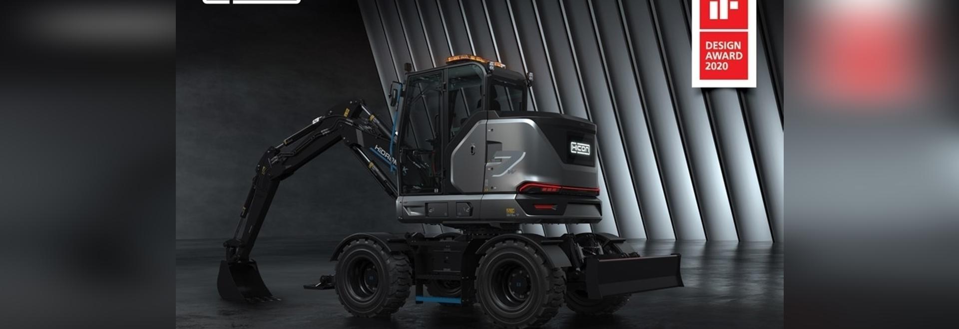 L'escavatore gommato 100% elettrico HICON 7 W di HİDROMEK ha vinto il suo secondo premio di design