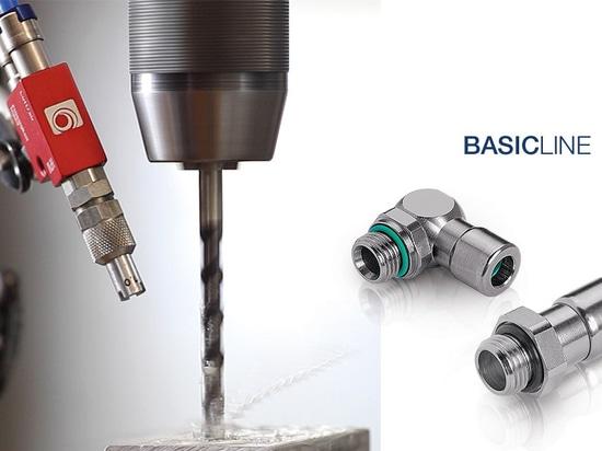 I raccordi a innesto della Eisele BASICLINE sono ideali per aria compressa, vuoto, gas e alcuni fluidi. Il manicotto con codice blu impedisce il collegamento errato dei tubi