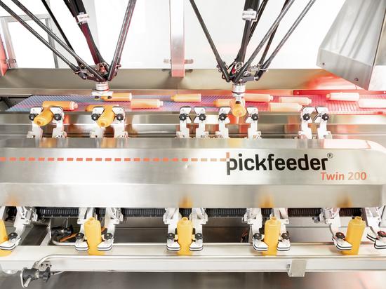 Robotico disordinatore di bottiglie Pickfeeder Twin 200