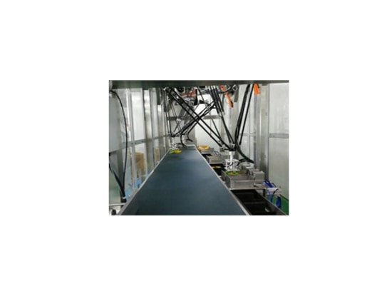Macchina d'inscatolamento fornita di robot di delta