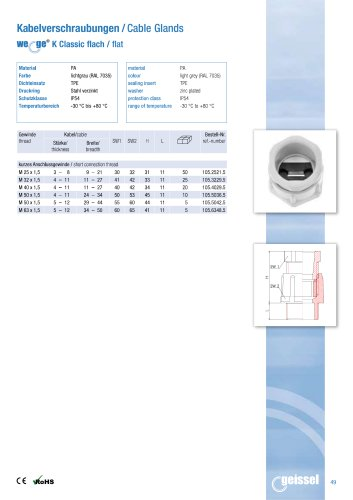 wege® K Classic flat Cable Gland data sheet