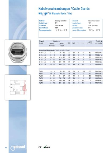 wege® M Classic flat Cable Gland data sheet