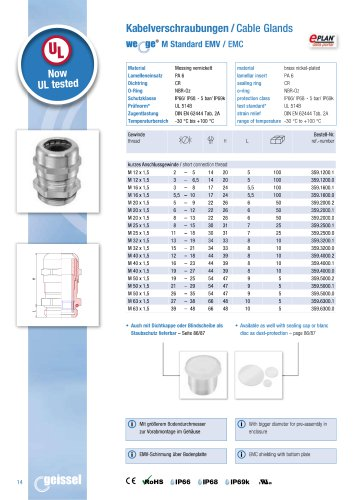 wege® M EMC 359. Cable Gland data sheet