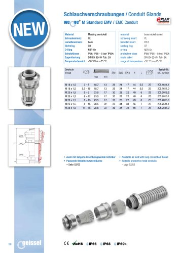 wege® M Standard EMC Condtuit Gland data sheet