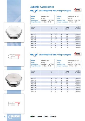 wege® S Plugs hexagonal data sheet