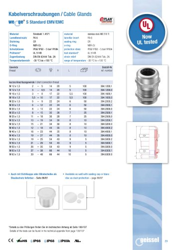 wege® S Standard EMC AISI 316 Ti data sheet